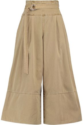 CINQ À SEPT Sandy belted cotton-twill culottes
