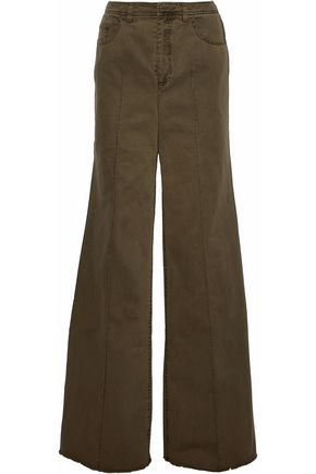 CINQ À SEPT Frayed cotton-twill wide-leg pants