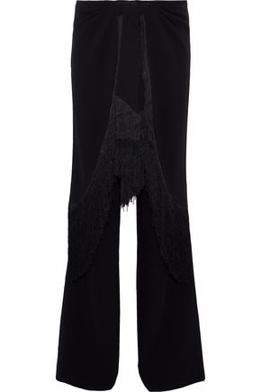 CINQ À SEPT Fringe-trimmed cady flared pants