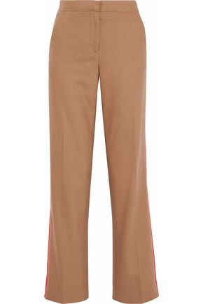 RAG & BONE Satin-trimmed wool-blend wide-leg pants