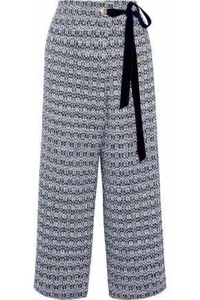 MOTHER OF PEARL Wrap-effect cropped cotton-blend tweed wide-leg pants