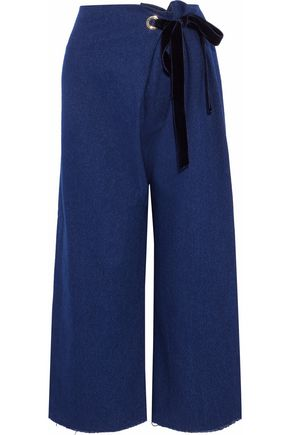 MOTHER OF PEARL Velvet-trimmed frayed chambray wide-leg pants