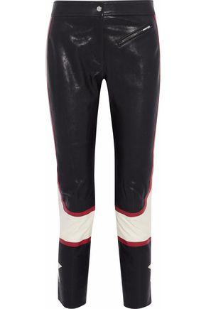 BELSTAFF Cropped color-block leather slim-leg pants