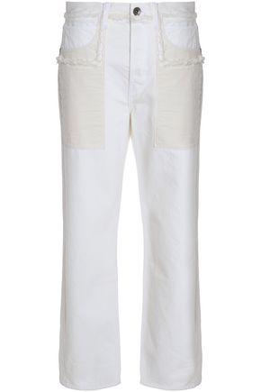 HELMUT LANG Frayed high-rise straight-leg jeans