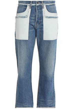 HELMUT LANG Two-tone faded high-rise straight-leg jeans