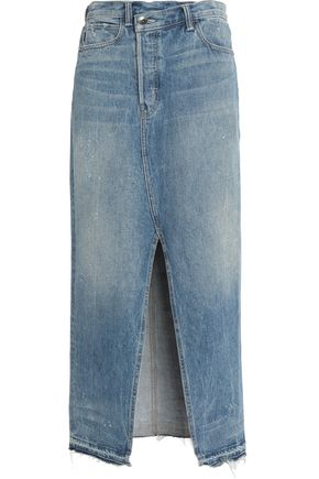 HELMUT LANG Split-front faded denim midi skirt