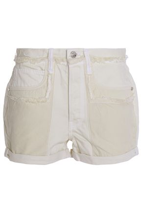 HELMUT LANG Frayed two-tone denim shorts