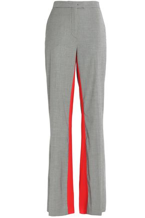 MSGM Striped houndstooth wool-blend flared pants