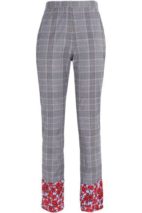 MSGM Floral print-trimmed checked wool-blend tapered pants