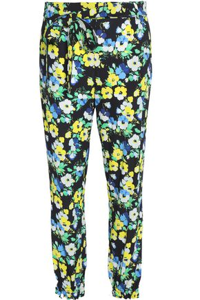 MSGM Belted floral-print crepe tapered pants
