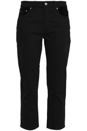 ACNE STUDIOS Cropped velvet-trimmed mid-rise slim-leg jeans