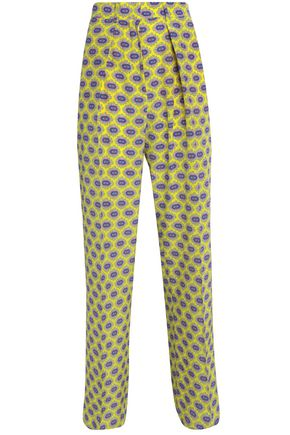 MSGM Pleated printed crepe de chine wide-leg pants