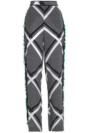 MSGM Fringed printed silk wide-leg pants