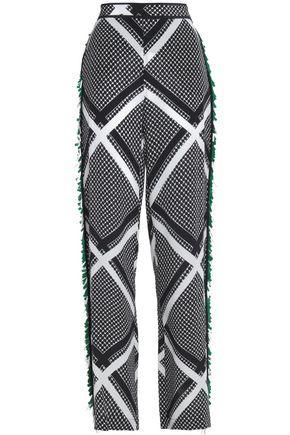 MSGM Fringed printed silk wide-leg pants
