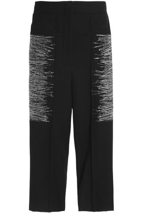 JIL SANDER Metallic embroidered wool-twill culottes