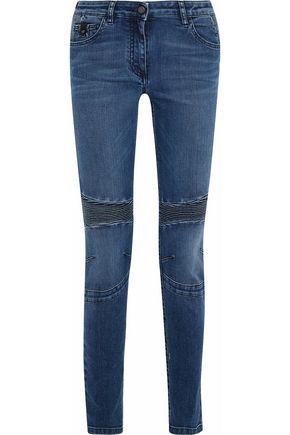 BELSTAFF Ribbed-paneled mid-rise slim-leg jeans
