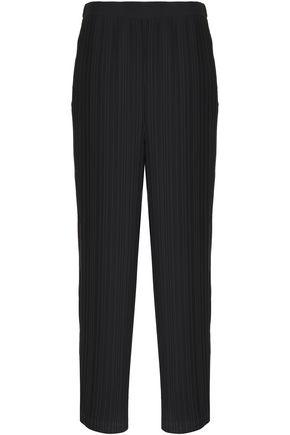 HELMUT LANG Pleated crepe wide-leg pants