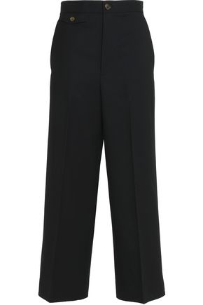 HELMUT LANG Cropped wool-twill wide-leg pants