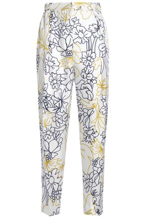 ROKSANDA Printed silk and cotton-blend twill tapered pants