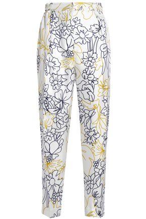 ROKSANDA Printed silk and cotton-blend twill tapered pants
