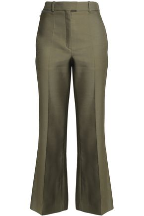 NINA RICCI Wool and silk-blend twill wide-leg pants