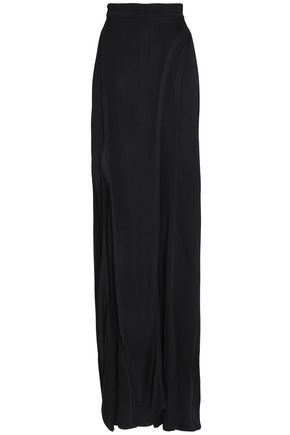 BALMAIN Wrap-effect stetch-knit wide-leg pants
