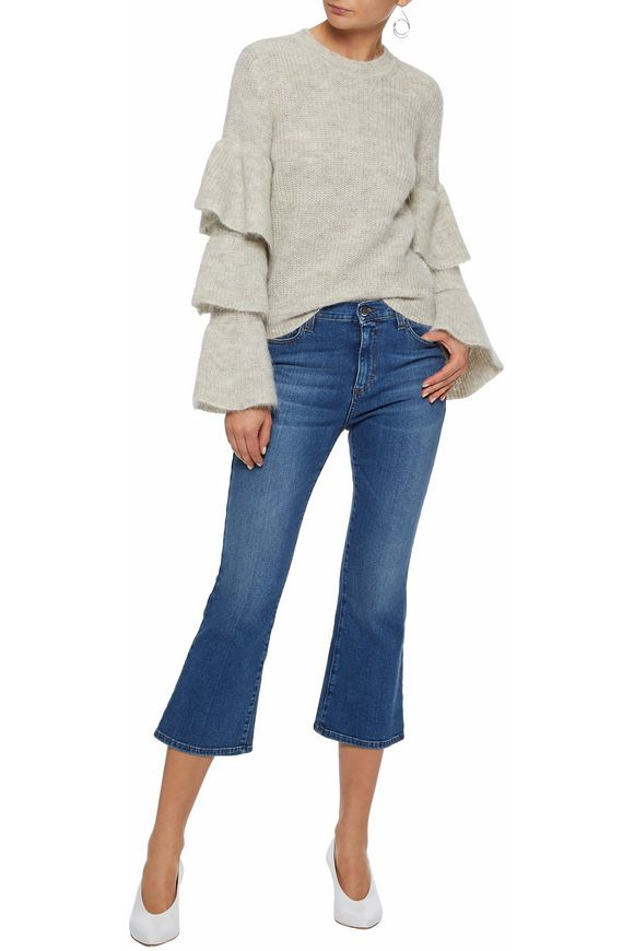 Addison cropped mid-rise flared jeans | IRIS & INK | Sale up to 70% off |  THE OUTNET