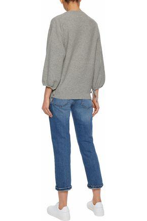 IRIS & INK Karler distressed mid-rise straight-leg jeans