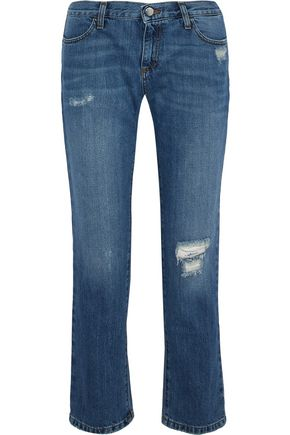 IRIS & INK Karler distressed mid-rise straight-leg jeans