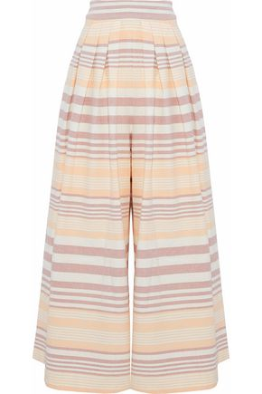 MARA HOFFMAN Pleated striped cotton wide-leg pants