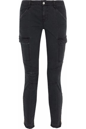 J BRAND Distressed cotton-blend twill skinny pants