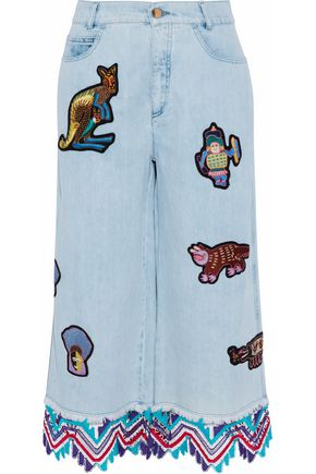 PETER PILOTTO Crochet-trimmed embellished denim culottes