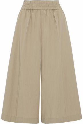 ACNE STUDIOS Cropped ruched cotton-poplin culottes