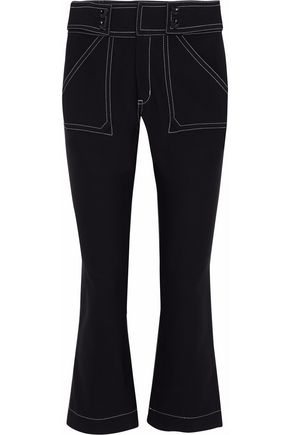 DEREK LAM 10 CROSBY Cropped stretch cotton-twill flared pants