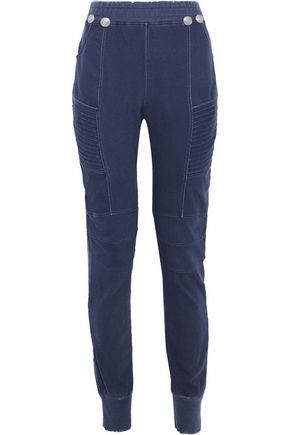 fcb326ae PIERRE BALMAIN Moto-style distressed cotton-jersey track pants