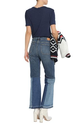 M.I.H JEANS Patchwork embroidered mid-rise wide-leg jeans