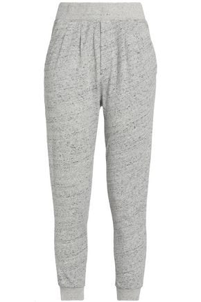 MAISON KITSUNÉ Cropped marled cotton-terry track pants