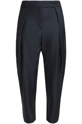 MAISON KITSUNÉ Cropped pleated twill tapered pants