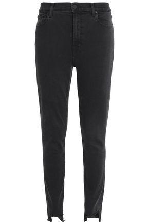 J BRAND Frayed high-rise slim-leg jeans