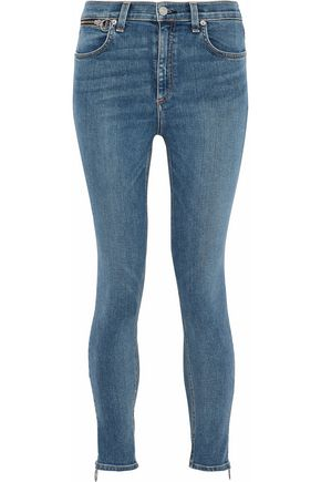 RAG & BONE/JEAN Zip-detailed high-rise skinny jeans