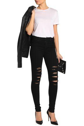J Brand Faded High-rise Skinny Jeans In Black