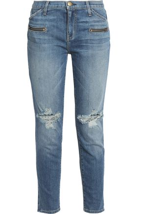 CURRENT/ELLIOTT Distressed mid-rise slim-leg jeans
