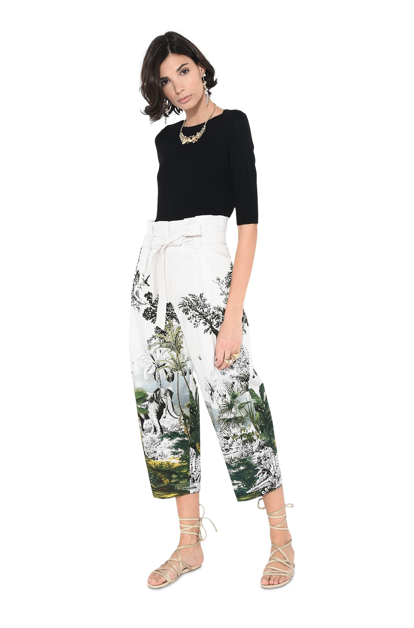 Exotic jungle motif trousers