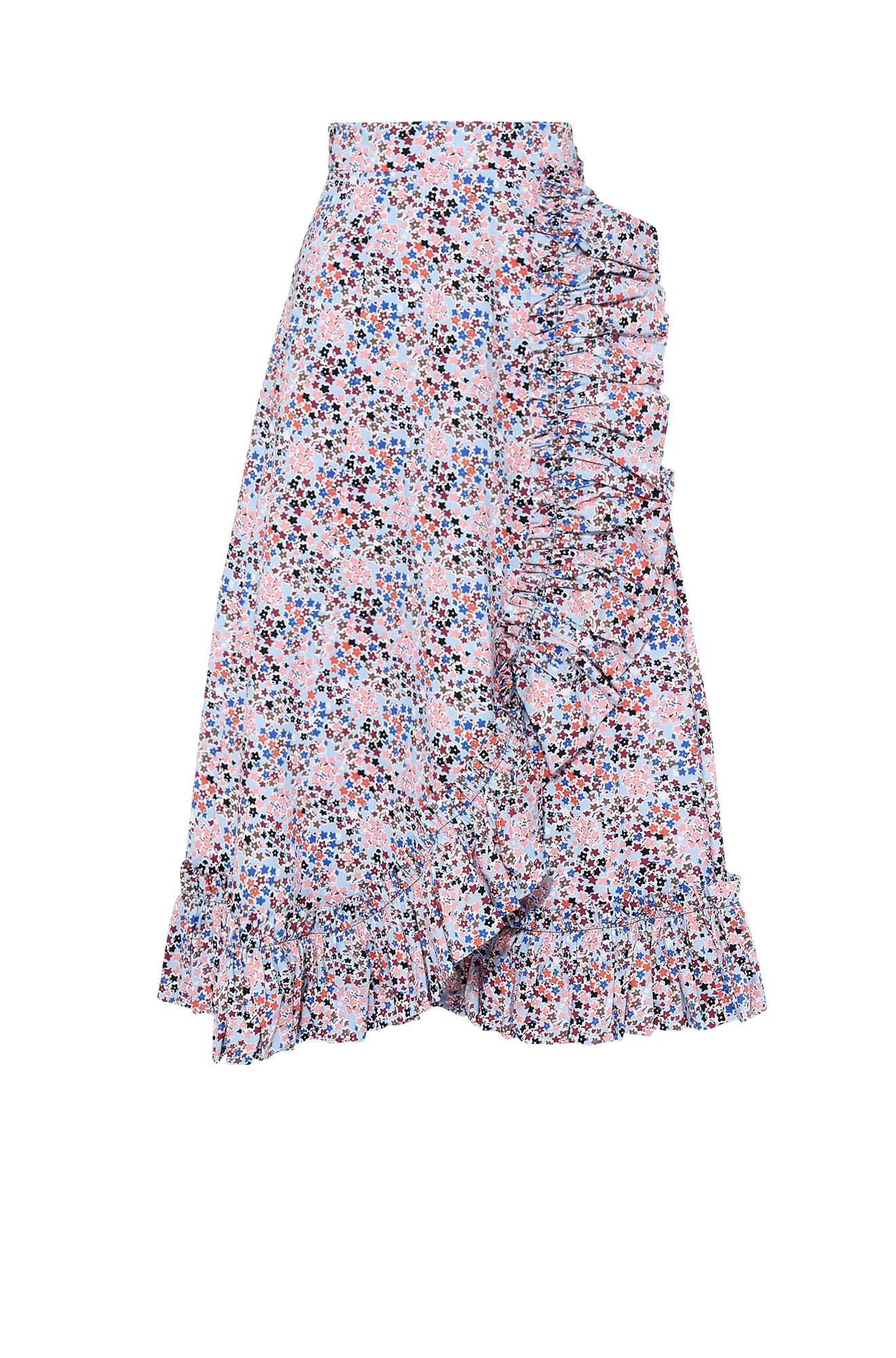Wraparound skirt with flower micro pattern
