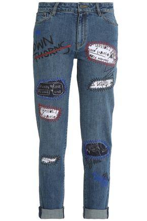 ALICE + OLIVIA Embellished mid-rise slim-leg jeans