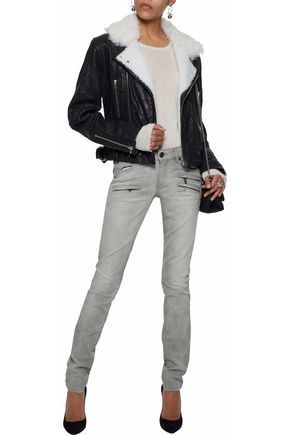 PIERRE BALMAIN Moto-style faded low-rise slim-leg jeans