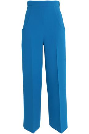 ROLAND MOURET Pleated wool-crepe wide-leg pants