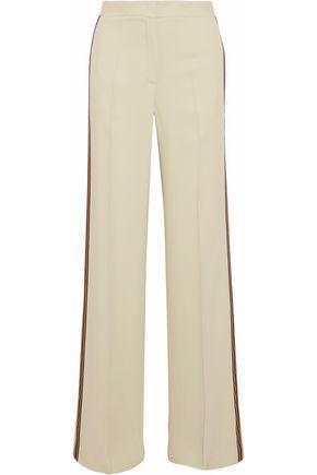 DEREK LAM Grosgrain-trimmed twill wide-leg pants