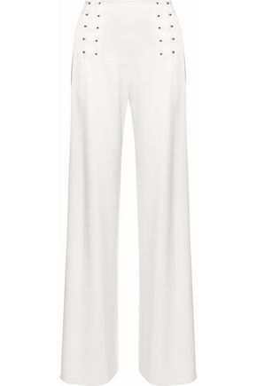 DEREK LAM 10 CROSBY Barbell-embellished satin-twill wide-leg pants