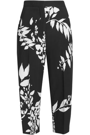 ROCHAS Cropped printed cady straight-leg pants